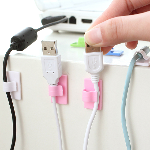 8 pcs/set Cable Management Storage Consolidation With Self-adhesive Tape Fixed Card Wire Cable Organizer  Winder Holder