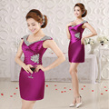 2017 summer new double-shoulder purpl gold cocktail dress banquet female slim graduation dress purple homecoming dress