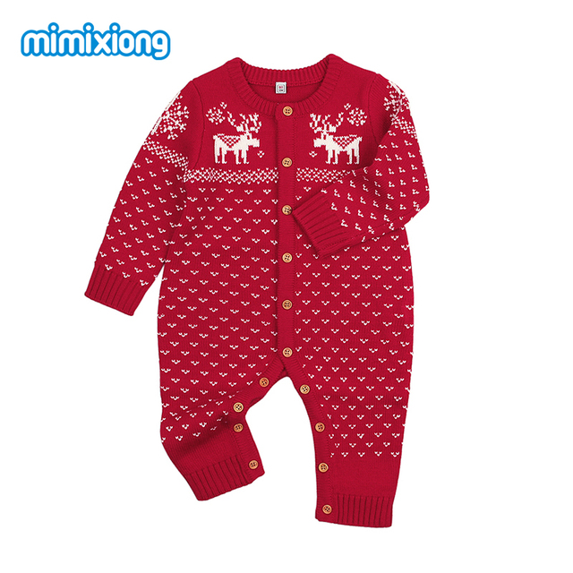 Christmas Reindeer Overalls For Children Knit Pajamas Newborn Bebes Boys Girls Rompers Jumpsuits Fall Kids Costumes Long Sleeves