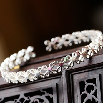 Retro Thai Silver Jewelry Wholesale Genuine S925 Sterling Silver Bangle Four-leaf Heart Open Ended Bangle Women's Silver Bangle фото