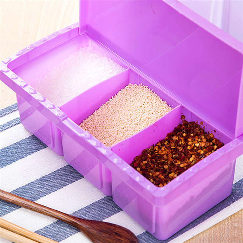 Plastic PP Kitchen Seasoning Boxes Spices Salt Sugar Beans Jar Container with Lid Condiment Holders 3 Lattice