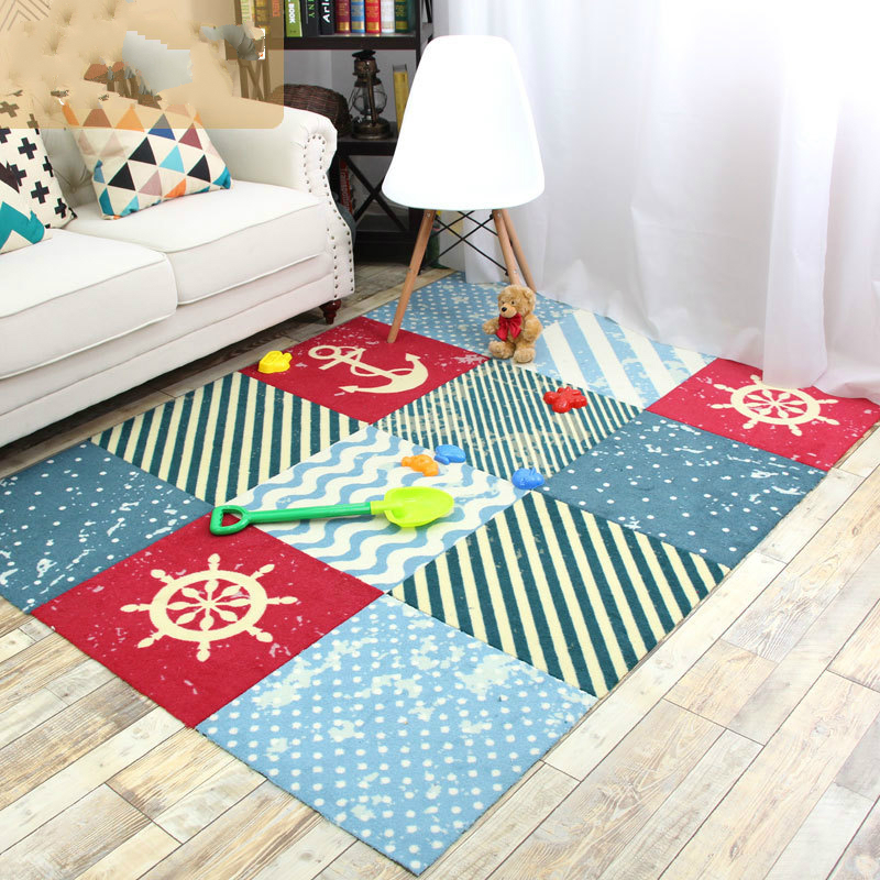 Anchor Carpet Children Geometry Mediterranean Block Stitching Living Room Bedroom Covered with Carpet Household alfombraAnchor Carpet Children Geometry Mediterranean Block Stitching Living Room Bedroom Covered with Carpet Household alfombra