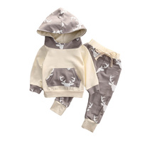 Baby Boys Clothes Cotton Hooded Long Sleeved Deer Coat Pants Two Piece Suit Baby Boy Clothing