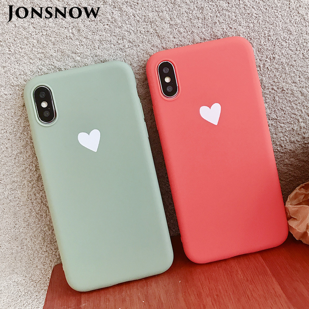 KIPX1073_1_JONSNOW Matte Phone Case For iPhone XR XS Max 6 6S 7 8 Plus 6Plus Candy Color Simple Heart Design Soft TPU Cases Back Cover
