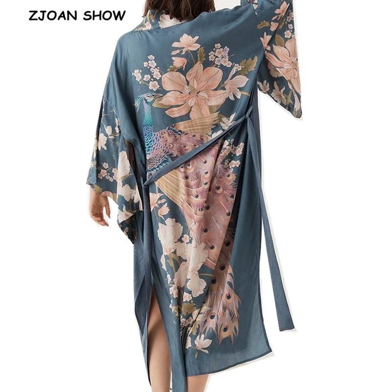 2019 Bohemian V neck Peacock Flower Print Long Kimono Shirt Ethnic New Lacing up Sashes Long Cardigan Loose Blouse Tops femme(China)