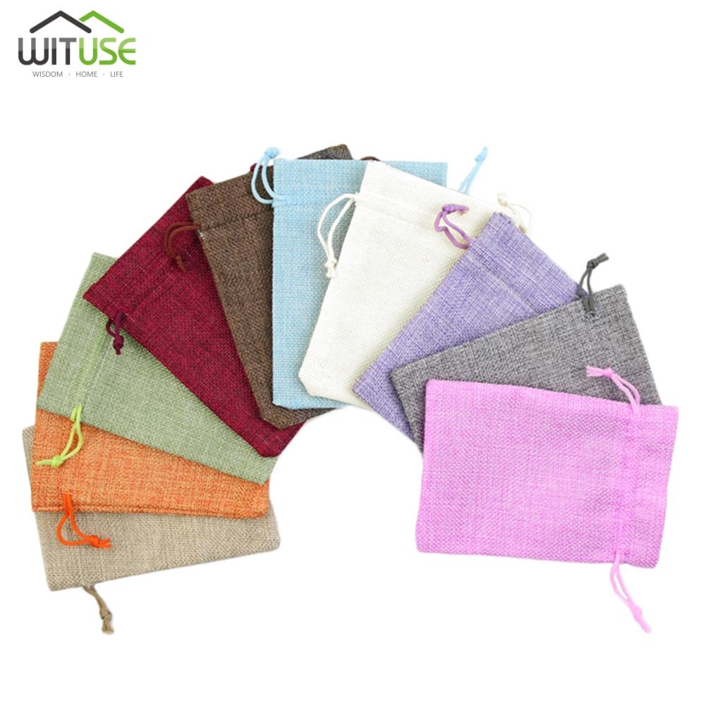 Hot Sale 5pcs 7x9 10x14 13x18cm Small Jute Bags Bracelet Jewelry Packaging Bags Linen Drawstring Gift Bag Pouches 12 Colors
