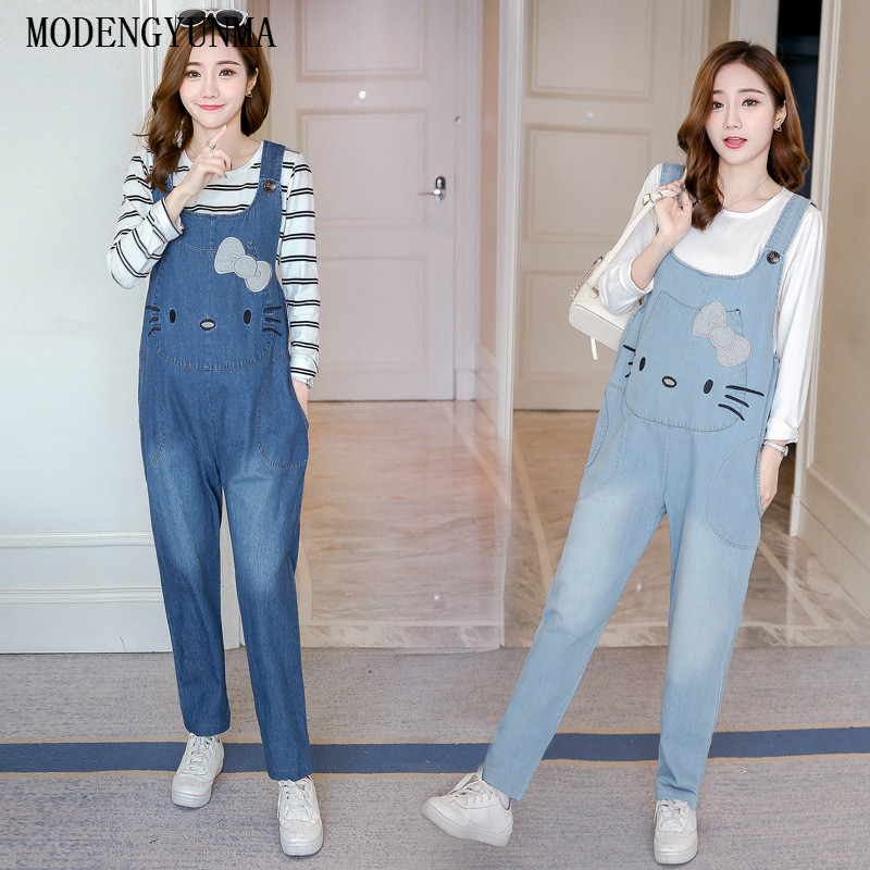 MODENGYUNMA Maternity Clothes Spring Autumn New Fashion Strap Pregnant Woman Pants Embroidered Loose Pregnancy Jeans Vestidos vintage women jeans calca feminina 2017 fashion new denim jeans tie dye washed loose zipper fly women jeans wide leg pants woman