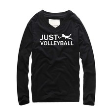 Creative Design VOLLEY BALL Print Fashion Men Long Sleeve T-shirt Cotton V-ncek Loose Tshirt homme Swag 2018 Autumn New T shirts