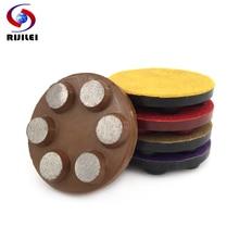 RIJILEI 5PCS/set 4 Diamond Floor polishing Pad 100mm Metal Bond Concrete Polishing Stone Grinding Disc WFD12B