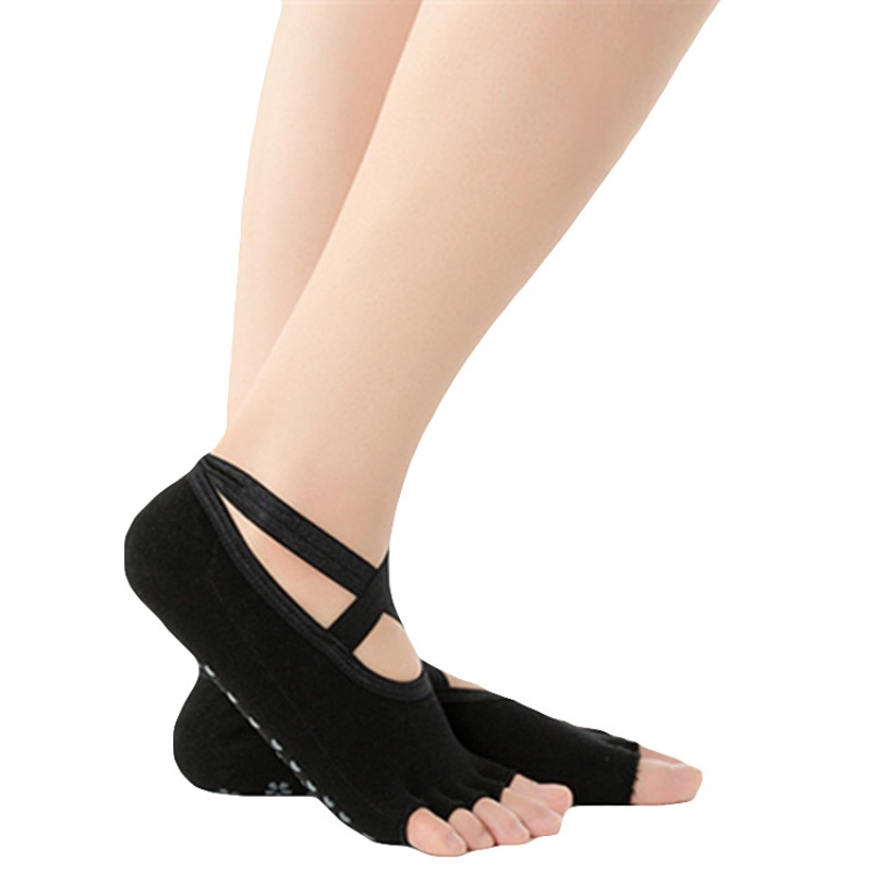 Women Yoga Backless Five Toe Anti-Slip Ankle Grip Socks Pilates Fitness Gym Socks Ladies Sports Socks Pro