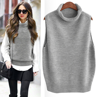 Korean Turtleneck Sweaters Sleeveless Knitted Vest Women Gilet Spring Autumn Cashmere Sweater FemaleV Neck Pullover Casual Tops