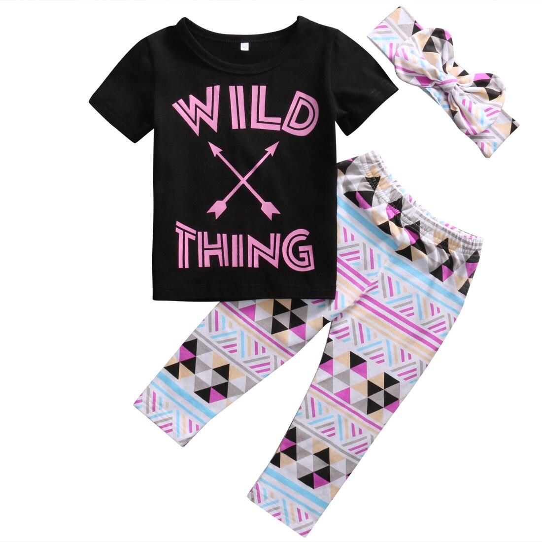 3PCS Set Toddler Kids Girl Clothes 2017 Summer Wild Thing Print T-shirt Top +Pant Legging Headband Outfits Children Clothing Set wild thing