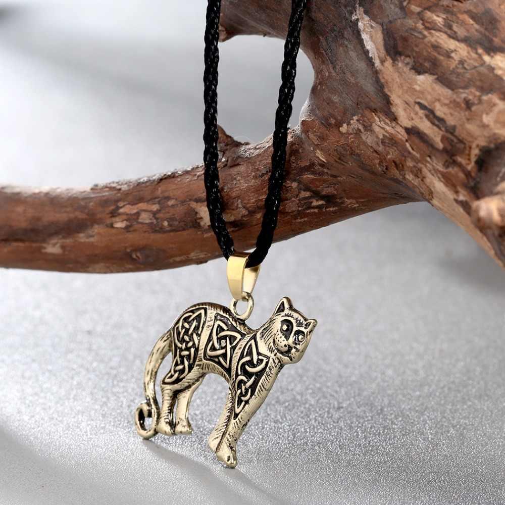 CHENGXUN Antiqued i teksturowane Leopard oddział wisiorek Celtic kot naszyjnik oryginalny zwierząt Valknut Vikings Amulet naszyjnik