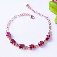 Y 925 sterling silver with natural Magnesium aluminum garnet bracelet with female