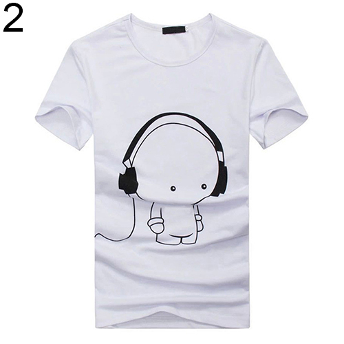 Arrival Men Summer Fashion Short Sleeve Cartoon Print T-Shirt Round Neck Slim Fit Top Fast Shipping 4