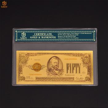 Nowy produkt 2018 US Gold banknoty 50 dolara pieniądze In24k złoto fałszywe waluta papier banknot na opublikowano kolekcji mody tanie i dobre opinie Europa Patriotyzmu Pozłacane SMJY Banknote USA Currency 1 2 5 10 20 50 100 500 1000 5000 10000 Dollar As Real Size Copy Genuine Banknotes