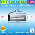 [V014] 3.8V,3.7V,3200mAH,[4045130] Polymer lithium ion / Li-ion battery ( SAMSUNGg cell ) for tablet pc,power bank,cell phone