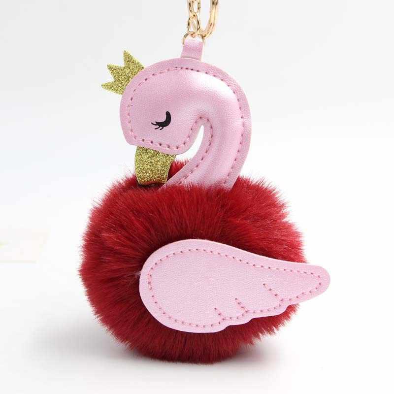 Novidade 2019 little Swan Bonito Chaveiros Mulheres Pompom de Pele de Coelho Rex Artificial Car Chave Anel Chave Da Cadeia de Borla Longo Fofo saco Jew