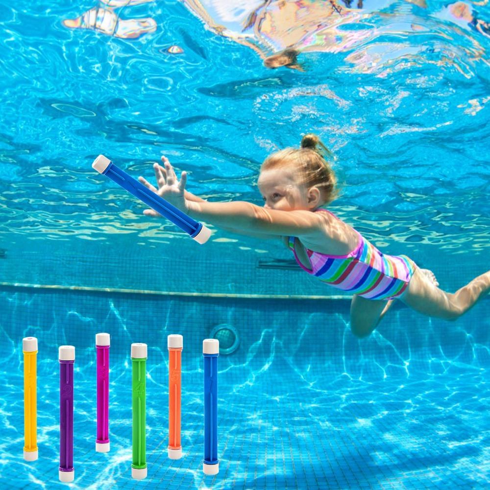 6 PCS Diving Game Toys Throwing Toy Swimming Pool Accessories Underwater Dive Sticks Toys For Kids Adult Pool Party Favors