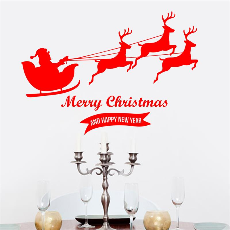 merry chtistmas santa claus deer window glass sticker christmas party decoration store wallpaperchina - Party Decoration Stores