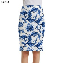 KYKU Brand Flower Skirts Women Leaf Sundresses White Sexy Blue And Porcelain 3d Print Skirt Casual Ladies Womens