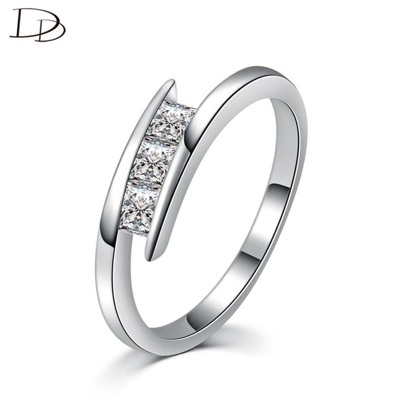 208d3ccd6c30 ROMAD de copo de nieve blanco de oro Zircon anillo de Color para las mujeres  boda