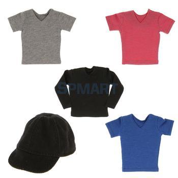 1/6 Scale Men's Black Baseball Cap T Shirt Model For 12inch Action Figure Body Toys
