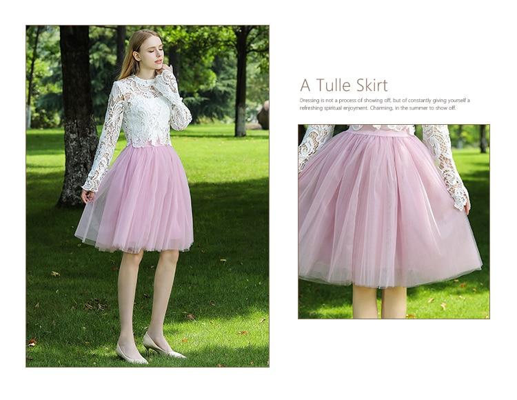 5 Layers 60cm Midi Tulle Skirt Princess Womens Adult Tutu Fashion Clothing Faldas Saia Femininas Jupe Summer Style 7