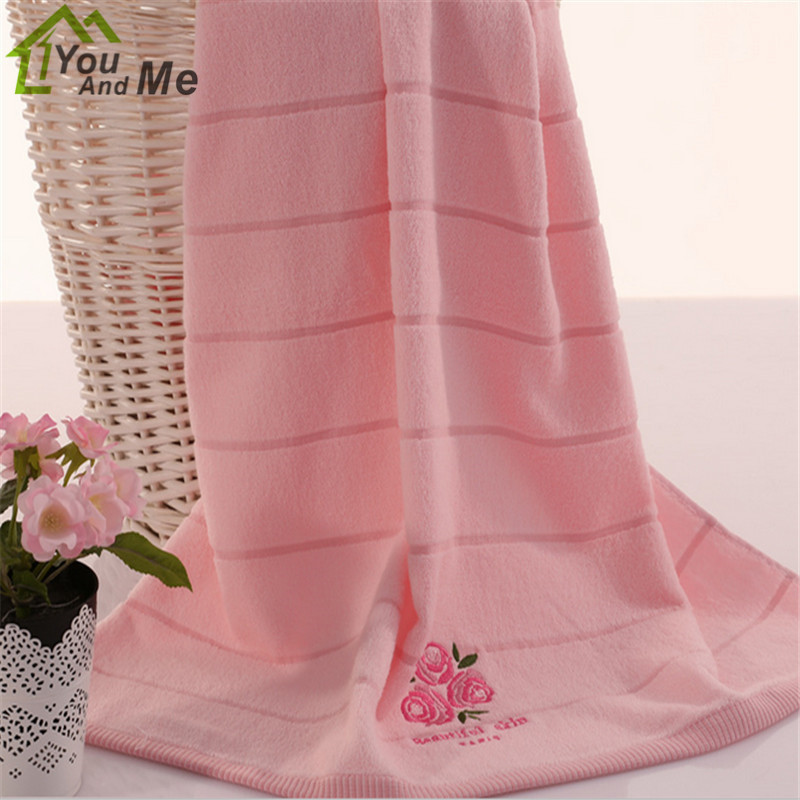 70x140cm 100% Cotton Bath Towel Washcloth Soft Quick Dry BeachTowel Rose Fragrance Embroidered Towel ...