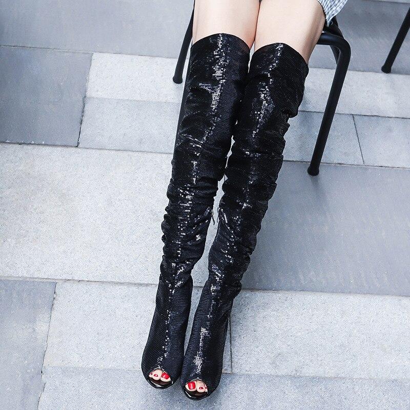 Pour Longues Chaussures Chaussons Bleu Parti As Nouveau Genou Peep Bottes Dames Du 2019 Femmes Paillettes Cuissardes Dessus Talons Picture Toe as Aiguilles Picture F66nqwUTv