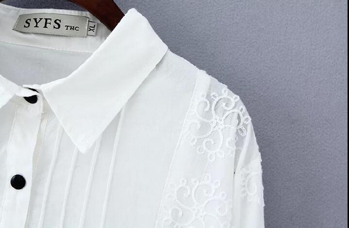 2016 весной Большой размер одежды белое кружево пуловер основные рубашка женская средней длины широкий рубашки блузки женский blusas L XXXL 4XL