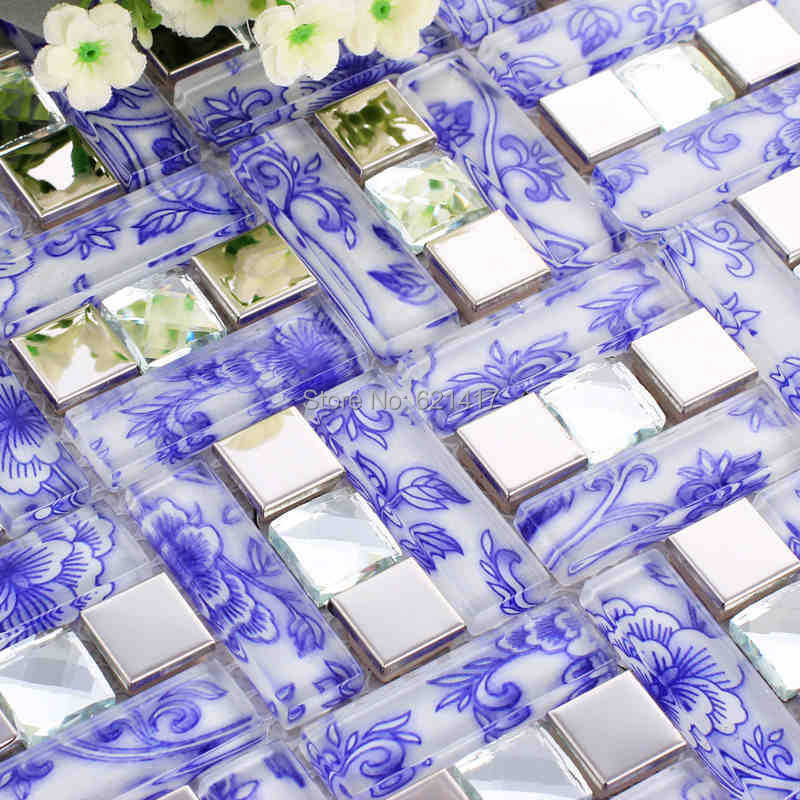 blue flower glass mosaic mixed metal and diamond tile kitchen backsplash bathroom shower tiles swimming pool mosaic tiles