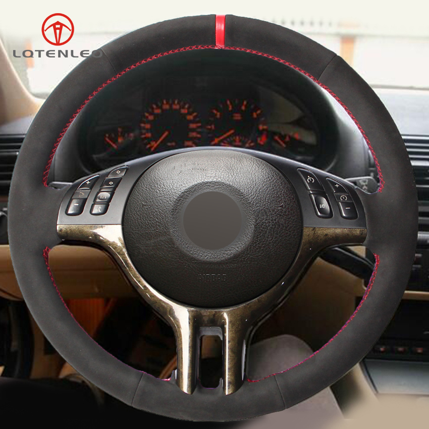 LQTENLEO Black Suede DIY Hand stitched Car Steering Wheel Cover for BMW E39 E46 325i E53