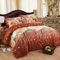 Têxteis para o Lar cama 3d definir planta folha de Roupas De Cama 4 Pcs Capa de Edredão de impressão reativa cama rosa vermelha rainha/rei tamanho casa