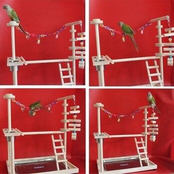 Большой размер деревянный попугай игровая площадка жердочка для птицы с лестницы кормушка попугай укуса игрушки рамка птица подставка кле...