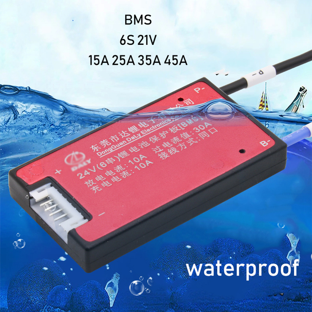6S 24V Lithium Battery Protection Board BMS Balance Function Waterproof 3.7V lipo Li ion 15A 20A 30A 40A for Electric Drill