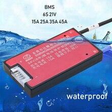 Placa de protección de batería de litio 6S y 24V, función de equilibrio BMS, resistente al agua, 3,7 V, lipo ion litio 15A 20A 30A 40A para taladro eléctrico