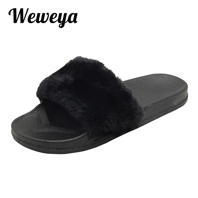 512d981f8 Weweya Fur Slides Slippers Flip Flops Shoes Woman Plush Slippers Beach  Sandals Zapatos Flats Outdoor Slippers Chausson Femme