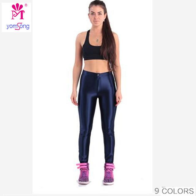 2016 Yomsong Para Mujer Pantalones de Cintura Alta de Neón de Color Negro Botón de la Cremallera Mejores Chicas en Polainas del Color del caramelo Discoteca Caliente En Línea 104