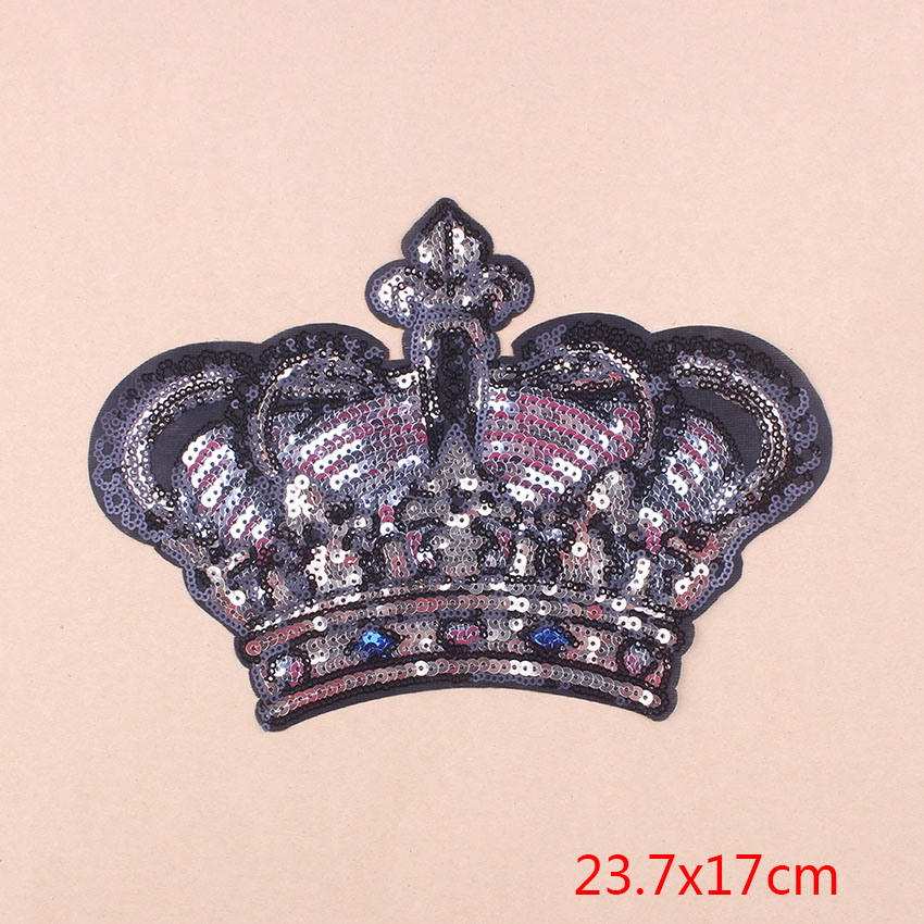 ZOTOONE Beauty Crown Women Patch Girls Iron On Parches Bordados Embroidery Sequin Patch Applique Dress Stripes Clothes Funny D1 in Patches from Home Garden