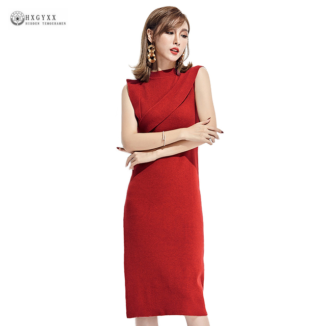 Women Medium-Long Knitted Dress Solid Round Neck Sleeveless Sexy Sheath  Dresses Elastic Knitwear Female Slim Autumn Dress OK1392 785083b8a