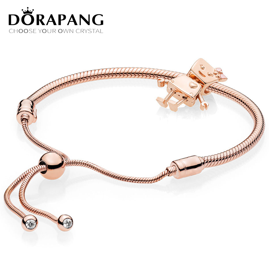 DORAPANG 100% Sterling Silver Brand New 1:1 Passion Charm Robot With Bracelet Rose Gold Series Fit original design Women Gift new 2016 design winter sexy stiletto high heels boots16cm patent leather round toe platform boots mid calf knight boots