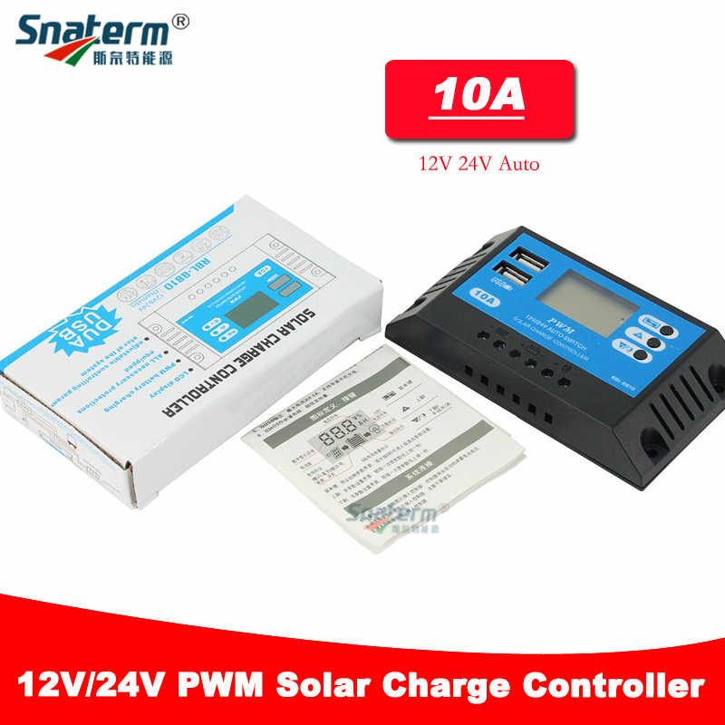 NEW 24V 12V 10A Auto Solar Panel Battery Charge Controller PWM LCD Display Solar Collector Regulator with Dual USB Output