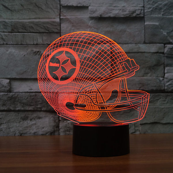 Party Big Size 12 Inch 7 Colors Change Football Helmet 3D Illusion Led Night Light Lamp