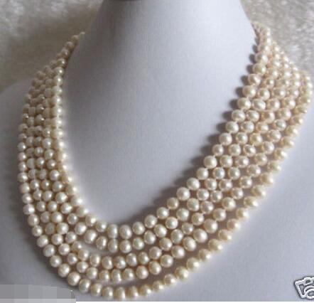 """Beautiful 100"""" 7 8mm White Freshwater cultured Pearl Necklace-in Necklaces from Jewelry & Accessories    1"""