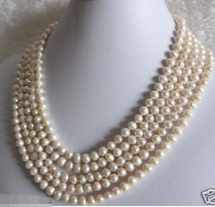 "Beautiful 100"" 7-8mm White Freshwater cultured Pearl Necklace"