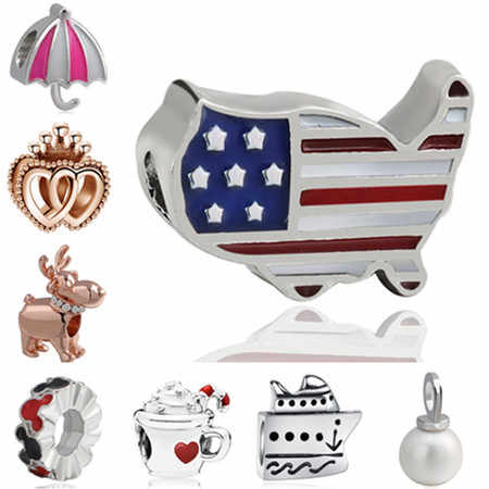 High Quality European Enamel Alloy Beads Maxi Umbrella Yacht Pug Dog Charms Beads Fit Pandora Bracelets Women DIY Berloque Gifts
