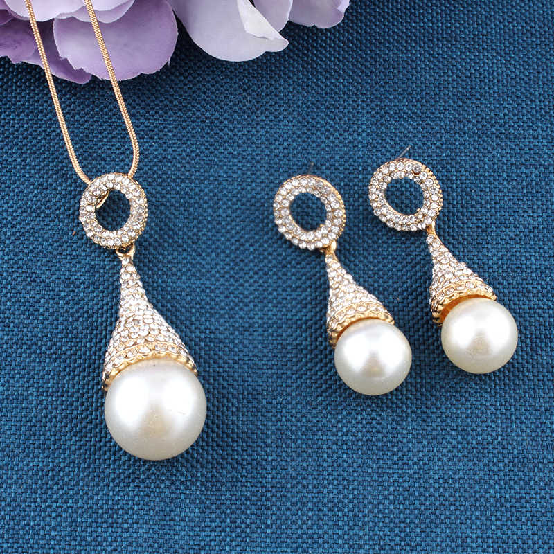 jiayijiaduo Fashion Pearl Bridal Jewelry Gold-color Necklace Earrings Set for Gift Pendant For Wedding Party Dress Accessories