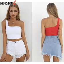 c4411c94649 Solid Color Female Camisole Tops Summer Cami Women Cropped Tops One  Shoulder Chest Wrapped Short Vest