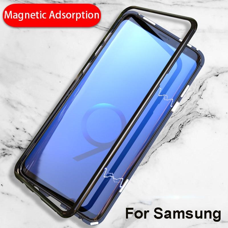 Magnético adsorción Flip caso de vidrio templado para Samsung Galaxy S9 s8 más Nota 8 s 9 note8 cubierta de lujo parachoques del Metal